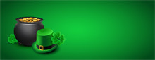 St Patricks Day Banner - Cauldron, Shamrocks And Green Hat Against Green Background