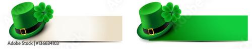 Fotografia st patricks day - banner set with leprechaun hat and shamrock