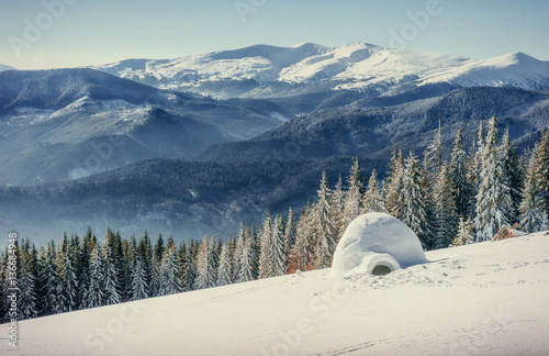 yurt in winter fog mountains. Carpathian, Ukraine, Europe