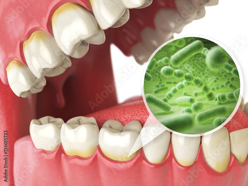 Valokuva  Bacterias and viruses around tooth. Dental hygiene medical conce