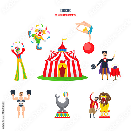Fotografia, Obraz  Circus concept - performances, clowns, jugglers, strongman, acrobats, magician, animal trainer