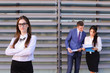 Confident young business woman, student rests, took break from w