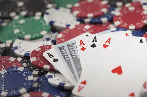 Gambling chip, poker and money плакат
