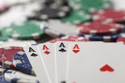 Plakat  Gambling chip,Playing cards and poker