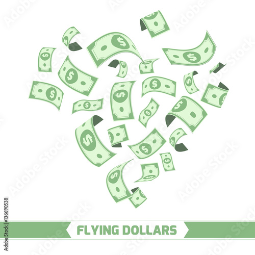 Fotografía  Flying dollars. Isolated on white background.