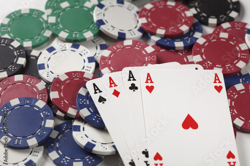 Gambling chip,Playing cards and poker плакат