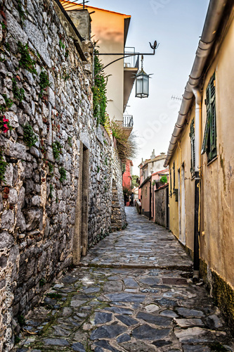 Poster Smal steegje Ancient narrow lane in Portovenere, Liguria, Italy.