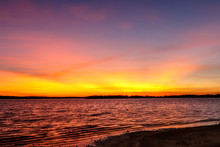 Beautiful Sunset Over A Lake In Oklahoma.