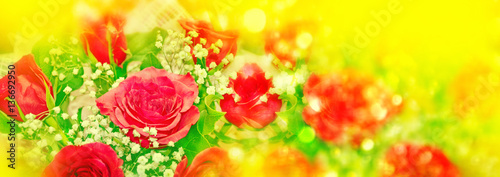 Poster Jaune Colorful bright flowers rose buds. Floral background.