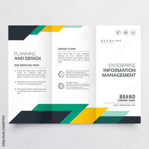 business trifold brochure design with geometric shapes Canvas Print