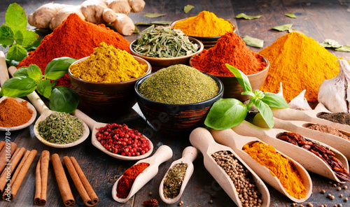 Variety of spices and herbs...