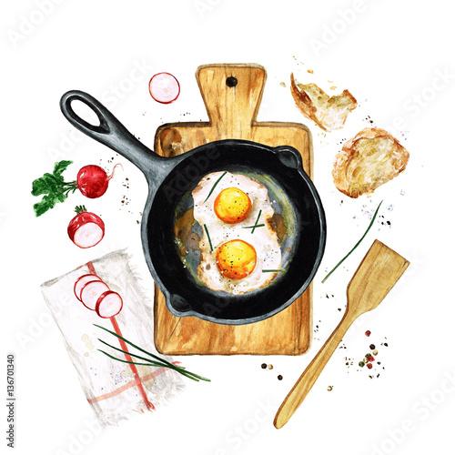 Printed kitchen splashbacks Watercolor Illustrations Eggs in a frying pan. Watercolor Illustration