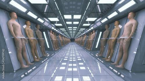 3d rendering. Human clones and futuristic interior architecture Canvas Print