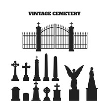 Black Silhouettes Of Tombstones, Crosses And Gravestones. Elements Of Cemetery