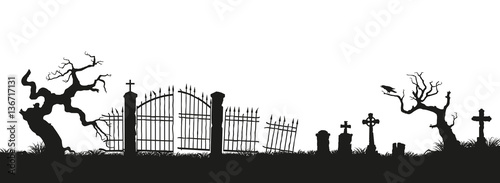 Photographie Black silhouettes of tombstones, crosses and gravestones