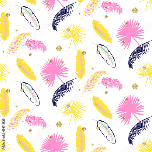Fotografie, Tablou  Yellow and pink palm leaves seamless vector pattern on white background