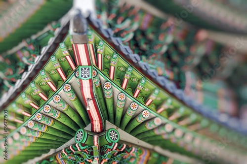 Detail of Traditional Korean Roof, Colourful Decorated Ornament Poster