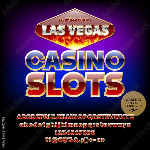 Vector Burning Sign Las Vegas Casino Slots Set Of Letters Numbers