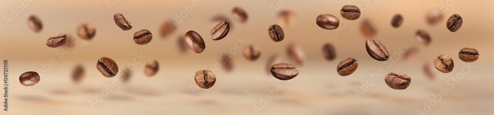 Flying coffee beans horizontal banner