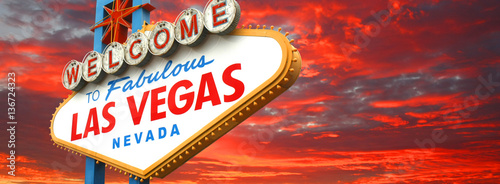 Spoed Foto op Canvas Las Vegas Welcome to fabulous Las Vegas sign