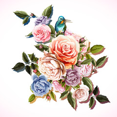 Fototapeta Peonie Flowers. Bouquet of roses and peony with humming bird. Vintage picture, can be used as invitation, greeting card, print on clothes, etc. Hand drawn flowers. Vector - stock.
