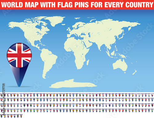 world map with flag pins for every country - Buy this stock