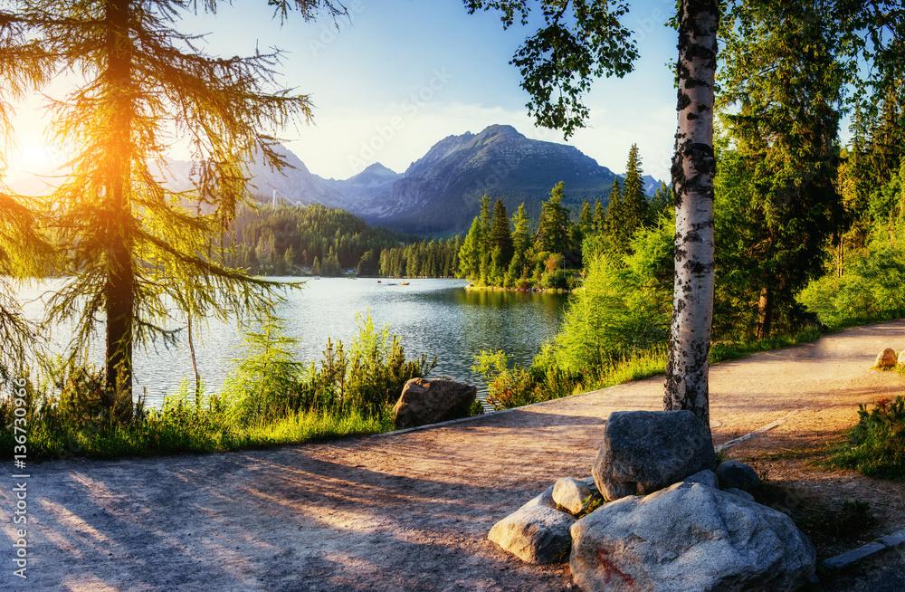 Fototapety, obrazy: Majestic mountain lake in National Park High Tatra. Strbske ples