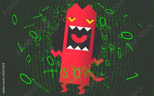 Fotografie, Obraz  Computer virus, trojan, malware, hacker attack