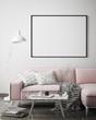 canvas print picture - mock up poster frame in hipster interior background, scandinavian style, 3D render, 3D illustration