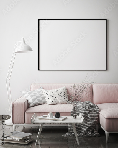 Photo  mock up poster frame in hipster interior background, scandinavian style, 3D rend