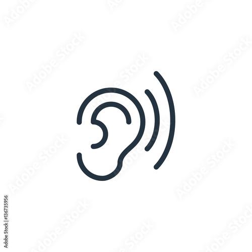 Foto ear thin line icon set on white background, audio, music, flat, minimalistic