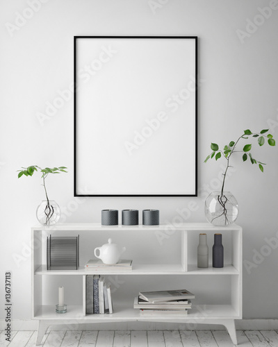 Fotografija  mock up poster frame in hipster interior background, scandinavian style, 3D rend