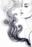 Twarz kobiety Ilustracja moda. Malarstwo akwarelowe - 136739777