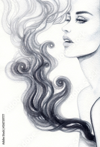 Acrylic Prints Watercolor Face Woman face. Fashion illustration. Watercolor painting