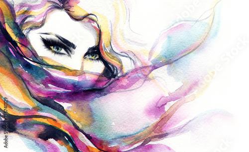Poster Portrait Aquarelle Woman face. Fashion illustration. Watercolor painting