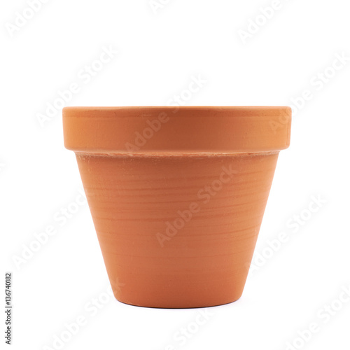 Empty ceramic flower pot isolated Fotobehang