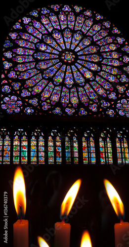 Aluminium Prints Stained Burning candles in Notre Dame Paris France