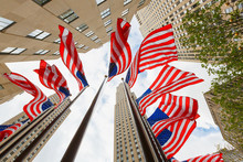 US National Flags Skyscrapers