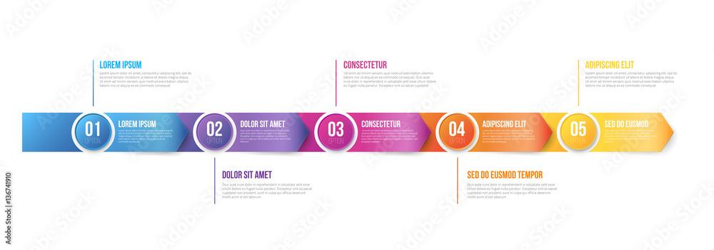 Fototapeta Infographics Arrows Template 5 steps