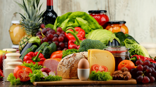Fototapety, obrazy: Organic food including vegetables fruit bread dairy and meat