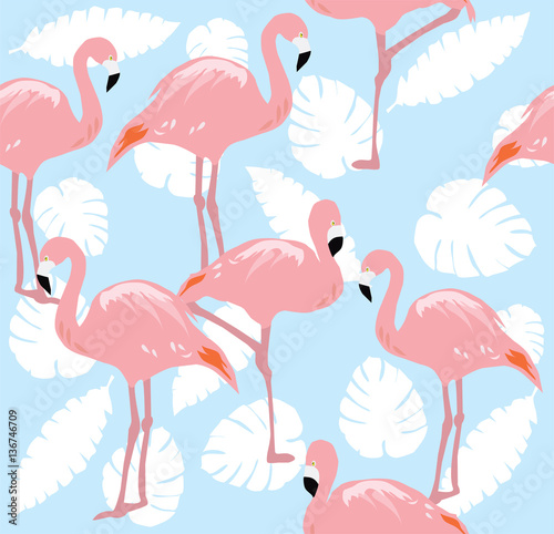 Fotobehang Flamingo vogel Vector Flamingo SEamless