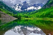 Mountain Peak Reflection In Calm Lake. Maroon Bells Near Aspen, Snowmass,  Colorado State, USA.