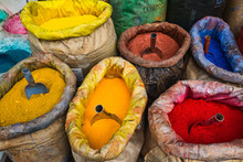 Sacks Of Colored Paint Pigment Powders In Istanbul, Turkey