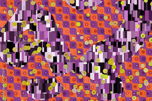 Wide abstract background in Gustav Klimt style  - 136755519