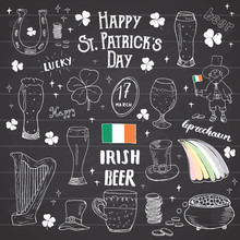St Patricks Day Hand Drawn Doodle Set, With Leprechaun, Pot Of Gold Coins, Rainbow, Beer, Four Leaf Clover, Horseshoe, Celtic Harp And Flag Of Ireland Vector Illustration On Chalkboard Background