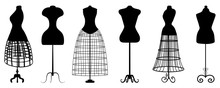 Silhouettes Of Fashion Dress Forms - Vector Set