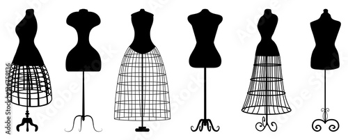 Fotografía Silhouettes of fashion dress forms - vector set