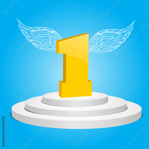 3d White Podium First Symbol With Wings Vector Illustration Eps