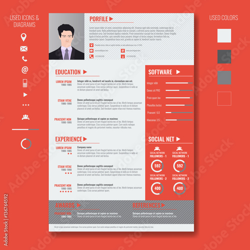 Vector creative minimalist cv resume template with photo ...