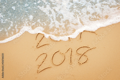 New Year 2018 Replace 2017 On Sea Beach Summer, New Year 2017 Is Coming  Concept